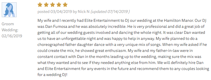 EliteEntertainment_TheKnotReview_NJWedding_DanFumosa 2019 02-16-2019