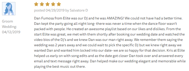 EliteEntertainment_TheKnotReview_NJWedding_DanFumosa 2019 04-12-2019