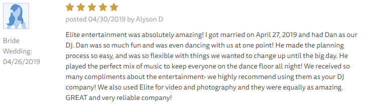 EliteEntertainment_TheKnotReview_NJWedding_DanFumosa 2019 04-26-2019
