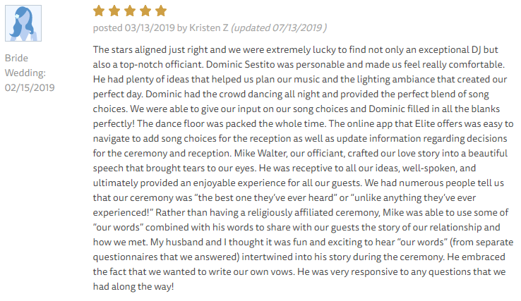 EliteEntertainment_TheKnotReview_NJWedding_DominicSestito 2019 02-15-2019