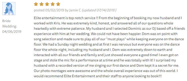 EliteEntertainment_TheKnotReview_NJWedding_DominicSestito 2019 04-06-2019