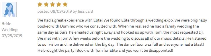 EliteEntertainment_TheKnotReview_NJWedding_TomMonaco 2019 07-25-2019