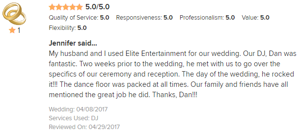 EliteEntertainment_WeddingWireReview_NJWedding_DanFumosa 2017 4-8-17
