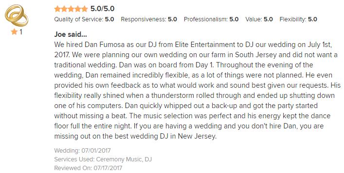 EliteEntertainment_WeddingWireReview_NJWedding_DanFumosa 2017 7-1-17