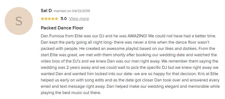 EliteEntertainment_WeddingWireReview_NJWedding_DanFumosa 2019 04-13-2019