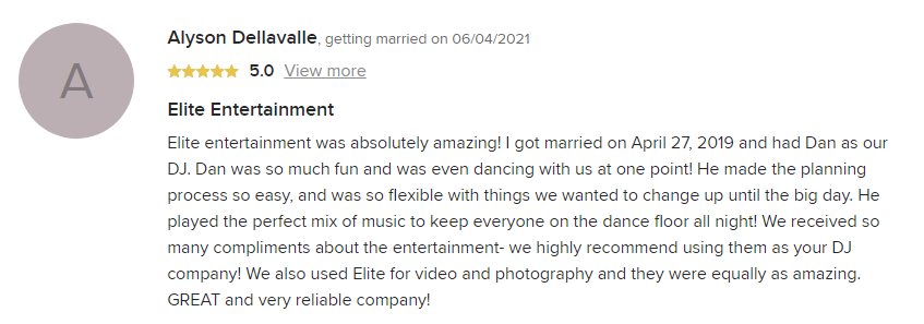 EliteEntertainment_WeddingWireReview_NJWedding_DanFumosa 2019 04-27-2019