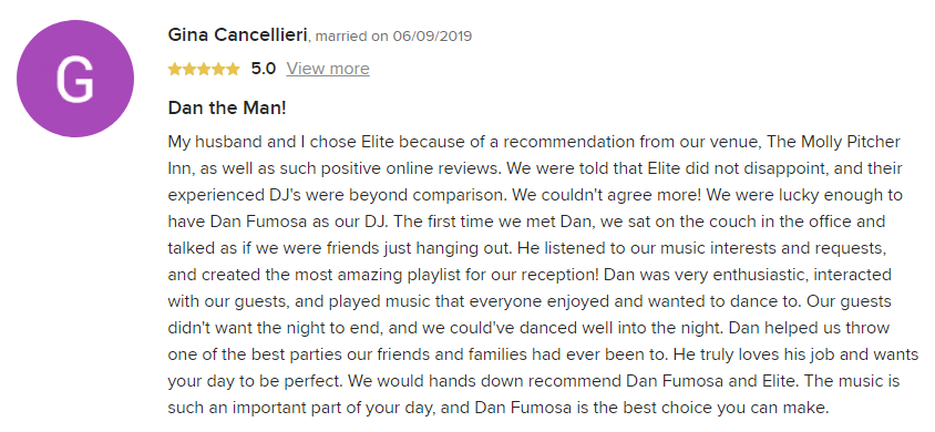 EliteEntertainment_WeddingWireReview_NJWedding_DanFumosa 2019 06-09-2019