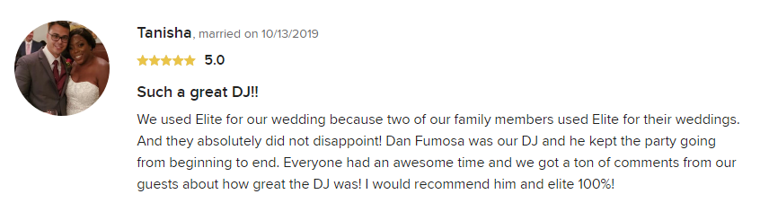 EliteEntertainment_WeddingWireReview_NJWedding_DanFumosa 2019 10-13-2019