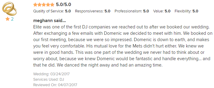 EliteEntertainment_WeddingWireReview_NJWedding_DominicSestito 2017 3-24-17