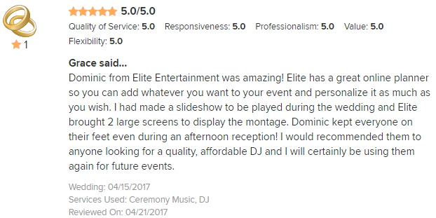 EliteEntertainment_WeddingWireReview_NJWedding_DominicSestito 2017 4-15-17