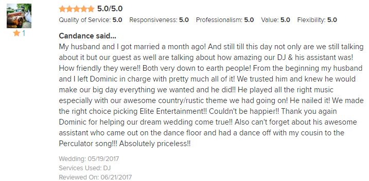 EliteEntertainment_WeddingWireReview_NJWedding_DominicSestito 2017 5-19-17