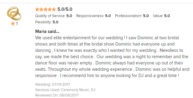 EliteEntertainment_WeddingWireReview_NJWedding_DominicSestito 2017 7-1-17