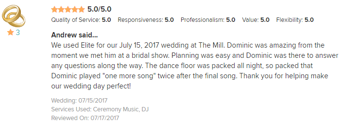 EliteEntertainment_WeddingWireReview_NJWedding_DominicSestito 2017 7-15-17