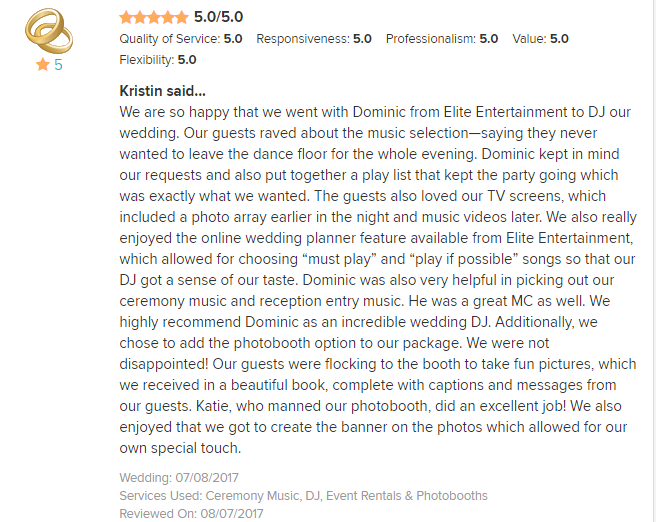 EliteEntertainment_WeddingWireReview_NJWedding_DominicSestito 2017 7-8-17