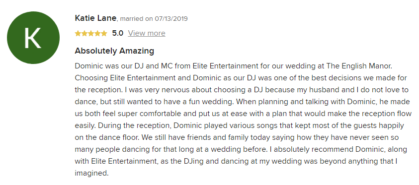 EliteEntertainment_WeddingWireReview_NJWedding_DominicSestito 2019 07-13-2019