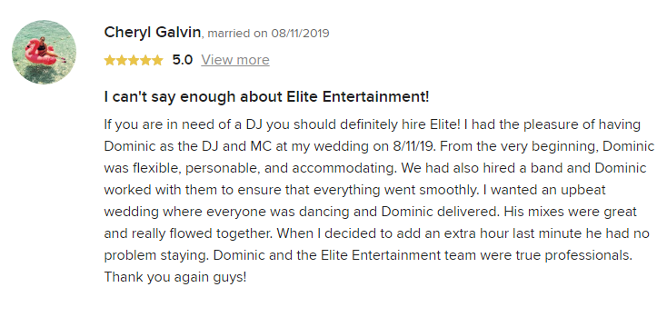 EliteEntertainment_WeddingWireReview_NJWedding_DominicSestito 2019 08-11-2019