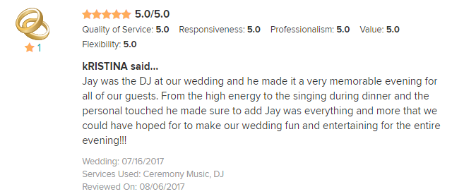 EliteEntertainment_WeddingWireReview_NJWedding_JayThomson 2017 7-16-17