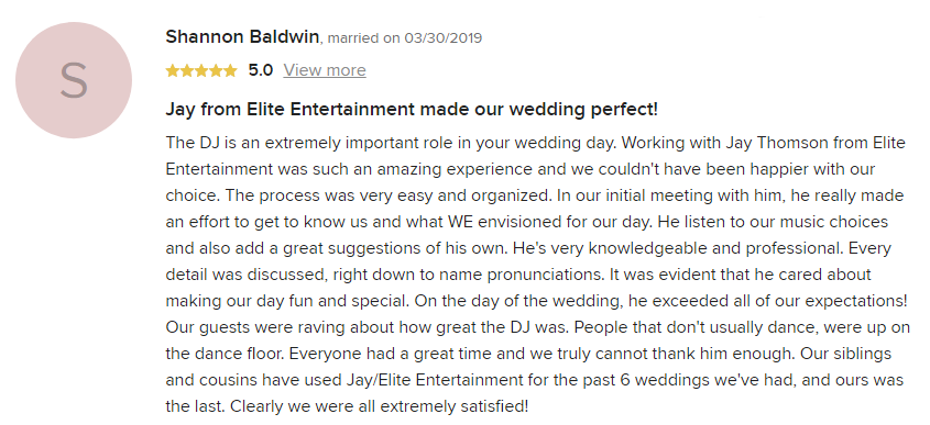 EliteEntertainment_WeddingWireReview_NJWedding_JayThomson 2019 03-30-2019