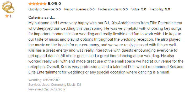 EliteEntertainment_WeddingWireReview_NJWedding_KrisAbrahamsen 2017 4-28-17