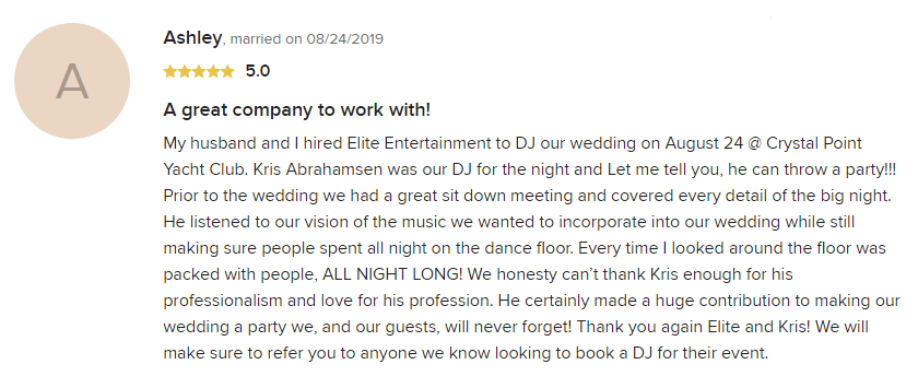 EliteEntertainment_WeddingWireReview_NJWedding_KrisAbrahamsen 2019 08-24-2019