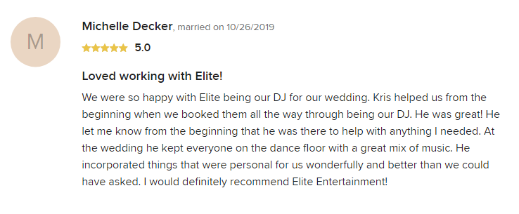 EliteEntertainment_WeddingWireReview_NJWedding_KrisAbrahamsen 2019 10-26-2019