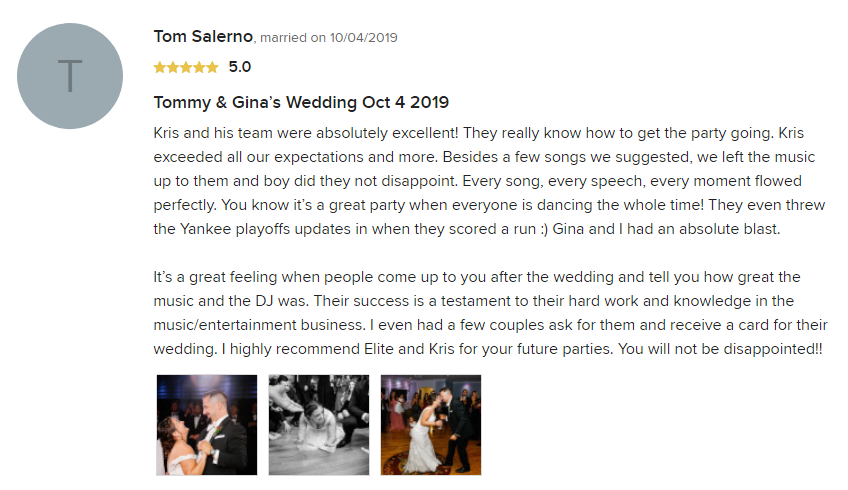 EliteEntertainment_WeddingWireReview_NJWedding_KrisAbrahamsen 2019 10-4-2019