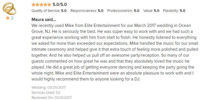 EliteEntertainment_WeddingWireReview_NJWedding_MikeWalter 2017 3-25-17