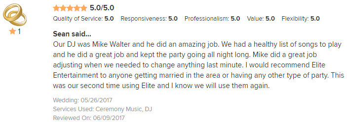 EliteEntertainment_WeddingWireReview_NJWedding_MikeWalter 2017 5-26-17