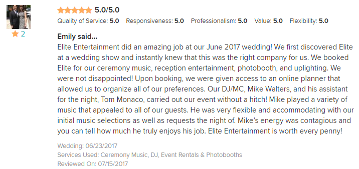 EliteEntertainment_WeddingWireReview_NJWedding_MikeWalter 2017 6-23-17