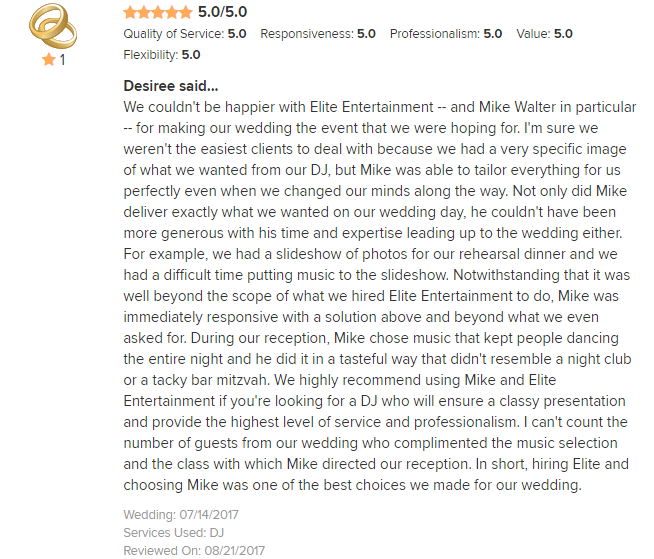EliteEntertainment_WeddingWireReview_NJWedding_MikeWalter 2017 7-14-17