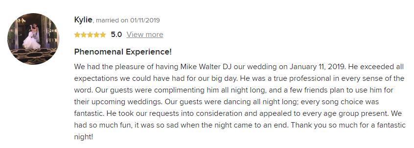 EliteEntertainment_WeddingWireReview_NJWedding_MikeWalter 2019 01-11-2019