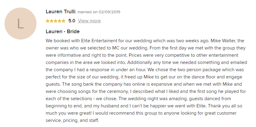 EliteEntertainment_WeddingWireReview_NJWedding_MikeWalter 2019 02-09-2019
