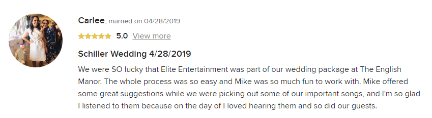 EliteEntertainment_WeddingWireReview_NJWedding_MikeWalter 2019 04-28-2019