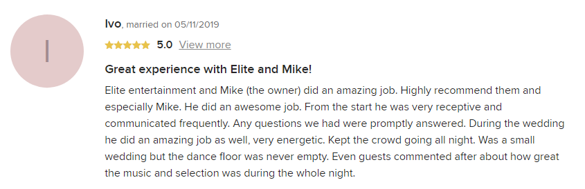EliteEntertainment_WeddingWireReview_NJWedding_MikeWalter 2019 05-11-2019