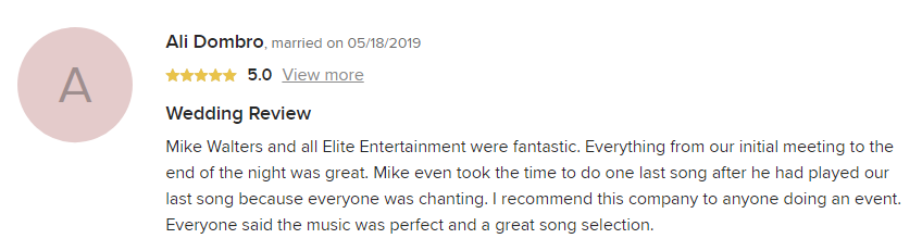 EliteEntertainment_WeddingWireReview_NJWedding_MikeWalter 2019 05-18-2019