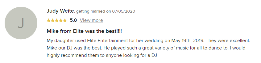 EliteEntertainment_WeddingWireReview_NJWedding_MikeWalter 2019 05-19-2019