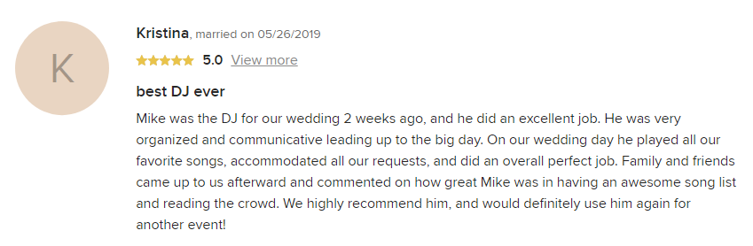 EliteEntertainment_WeddingWireReview_NJWedding_MikeWalter 2019 05-26-2019