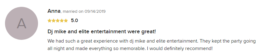 EliteEntertainment_WeddingWireReview_NJWedding_MikeWalter 2019 09-14-2019 officiant