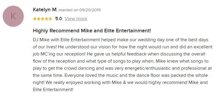 EliteEntertainment_WeddingWireReview_NJWedding_MikeWalter 2019 09-20-2019