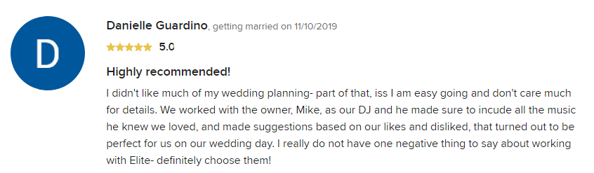 EliteEntertainment_WeddingWireReview_NJWedding_MikeWalter 2019 11-10-2019
