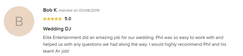 EliteEntertainment_WeddingWireReview_NJWedding_PhilWalsh 2019 03-8-2019