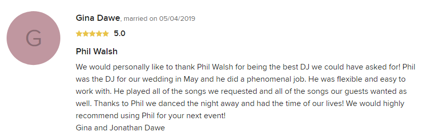 EliteEntertainment_WeddingWireReview_NJWedding_PhilWalsh 2019 05-4-2019