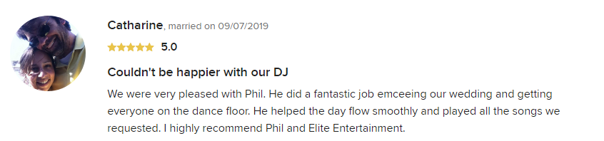 EliteEntertainment_WeddingWireReview_NJWedding_PhilWalsh 2019 09-7-2019