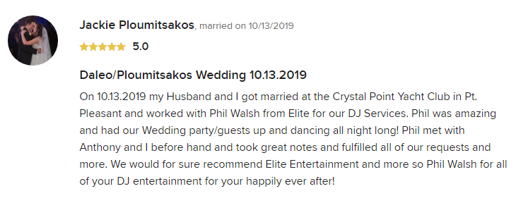EliteEntertainment_WeddingWireReview_NJWedding_PhilWalsh 2019 10-13-2019