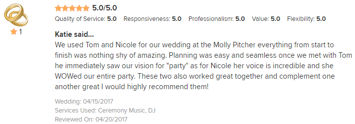 EliteEntertainment_WeddingWireReview_NJWedding_TomMonaco 2017 4-15-17