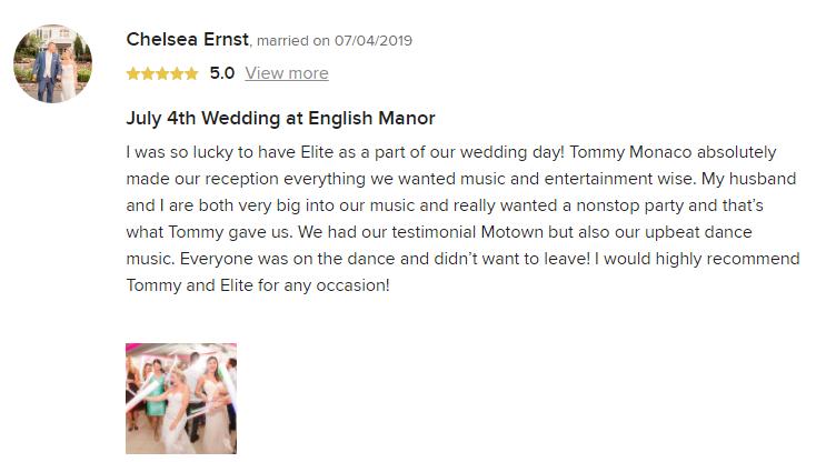 EliteEntertainment_WeddingWireReview_NJWedding_TomMonaco 2019 07-4-2019