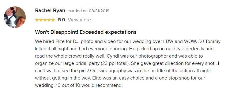 EliteEntertainment_WeddingWireReview_NJWedding_TomMonaco 2019 08-31-2019