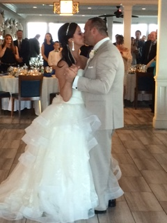Sarah and Eric enjoy a kiss during their first dance