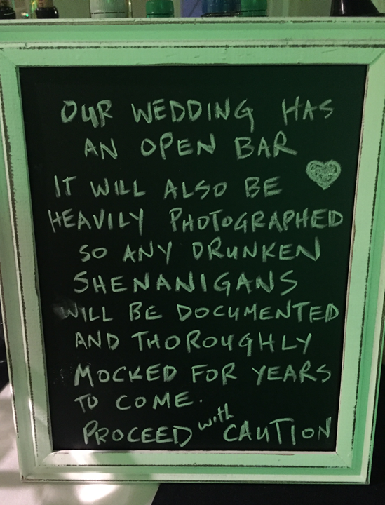 Loved the sign at the bar!