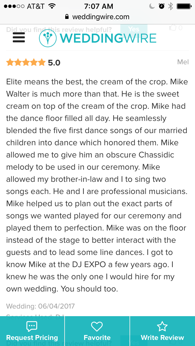 Mel was very nice to offer me this great wedding wire review